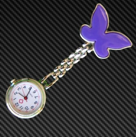 Purple Butterfly Nurses Fob watch
